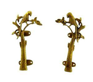 Parrot on Tree Design Antique Vintage Style Handmade Brass Door Pull Handle Knob