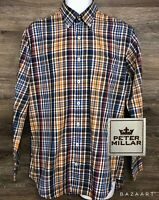 Peter Millar Men's Cotton Multi-Color Plaid Long Sleeve Button Front Shirt M