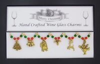 Christmas Set of 6 Gold Wine Glass Charms Handmade Just for You - Set 1