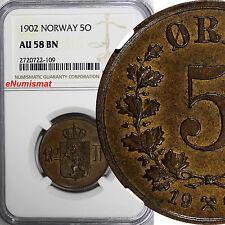 NORWAY Oscar II 1902 5 Ore NGC AU58 BN BETTER DATE LAST YEAR TYPE  KM# 405
