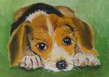 ACEO Puppy Dog Original Oil painting Miniature Art 2.5x3.5in artist VC