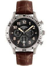 Rotary Mens Chronograph Brown Leather Strap Gents Watch GS00483-04