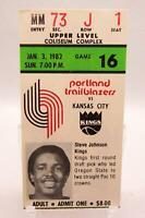 Portland Trailblazers NBA Game Ticket Stub 1/3/82 Steve Johnson Sacramento Kings