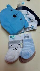 Infant 0-6 Months 3pc Hat Set & 4pc Socks Gerber and Child 'O Mine #PKBK
