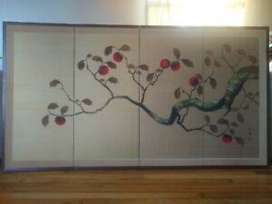 """Vintage signed  large silk Chinese hand screen painting 5'6""""×3' """"persimom tree"""""""