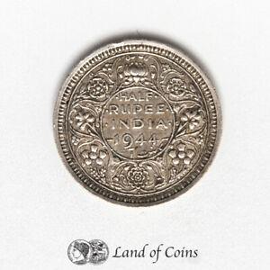 INDIA: 1 x 1/2 Rupee Silver 0.500 1944 Coin.
