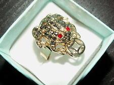 1 messing Fingering Ring Frosch Geldfrosch Unke Geldunke gold Kröte 17 mm 155.1