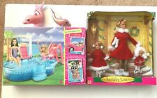 Barbie Glam Pool and Holiday Sisters Stacie Barbie Kelly Gift Set Nib Lot of 2
