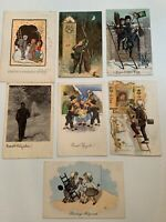 Lot of 7 vintage chimney sweeps New Year's postcards/greetings