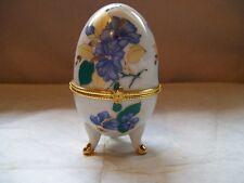 Egg Trinket Box Decorative Collectible Floral Blue Yellow White Porcelain