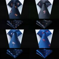 FATHERS DAY GIFT TIE AND MATCHING POCKET SQUARE SET FLAMINGO ELEPHANT BIRD THEME