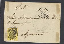 Frontal con sello. 1/2 onza del 10 de Noviembre de 1857. Ayamonte (Huelva).