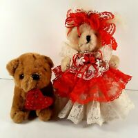"""Vintage 9"""" Jointed Valentine Teddy Bear on stand all dressed up & her 6"""" doggie"""