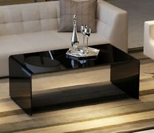 Contemporary Large Curved Black Tempered Glass Coffee Table