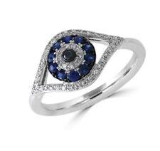 NEW! EFFY SAPPHIRE, DIAMOND & 14K  WHITE GOLD EVIL EYE RING/ SIZE 7/ MSRP $1,418
