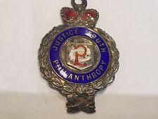 Vintage 1921 Silver Hallmarked Justice Truth Philanthropy Fob Medal