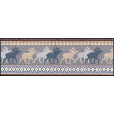 Waschbare Fußmatte Elch Nordic Elk blau 60x180 cm Wash+Dry Teppichläufer Läufer