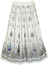 Purple Lotus Flower Silver Gold Sequin Indian Paisley Boho Gypsy Hippie Skirt