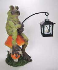 "13.5"" Frog on Mushroom Figurine Holding Tea Light Candle Lantern Garden Decor"