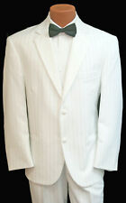 New Men's White Pinstriped Tuxedo with Pants & Vest Prom Wedding Halloween 43L