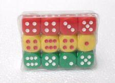 """Confezione di 12 dadi - """"3 colori rosso, verde e giallo opachi 6 facce"""" - 15 mm."""