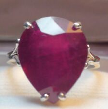 14.66 ct NATURAL BLOOD RED RUBY RING  925 STERLING SILVER.SIZE 8.25.