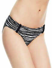 BNWT M & S  BIKINI BRIEF SIZE 16 WHITE &  BLACK HIPSTER FULLY LINED XTRA LYCRA