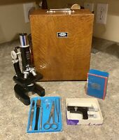 Vintage Tasco 1200x Microscope w/ Wood Case & Much More - Mint Cond.