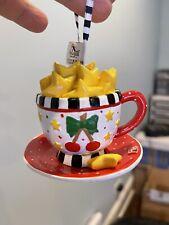 Vintage Mary Engelbreit Teacup Christmas Ornament - Kurt Adler - Cherries Stars
