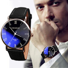 Luxury Fashion Faux Leather Mens Quartz Analog Watch Watches Black Tide