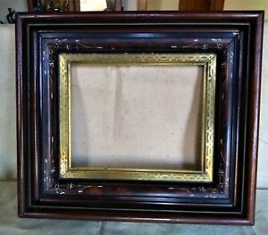 Antique Eastlake Picture Frame 8x10 Shadowbox Deep Incised Decoration Victorian
