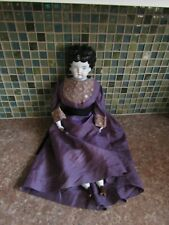 "Antique Low Brow 20"" China Doll wearing Purple Silk Gown"