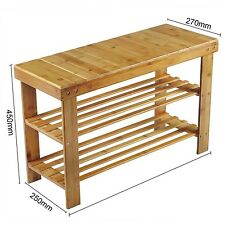 80 CMS LONG 2 Tier Natural Bamboo Shoe Rack Bench , Dual purposes, classic look