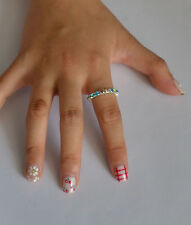 1Row Fashion Shiny Silver Plated Crystal Rhinestone Ring Elastic Charm Jewelry