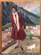 Tableau Huile Régine DAVID Femme Élégante Rouge Chien Village Montagne XXe