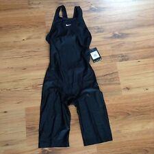 NIKE Swift II Black Neck To Knee High Swimsuit Kneeskin Racer Fina WMS 32 6 $290