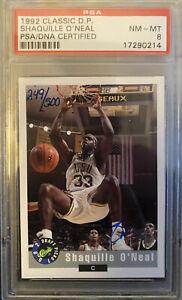 1992 Classic Draft Pick #/500 Shaquille O'Neal AUTO RC PSA 8 RARE SHAQ LOW POP