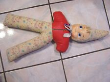 Vintage 23� Cloth Doll with Plastic Face and Pointed Hood