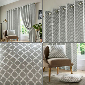 Silver Grey Cotswold Geometric Retro Lined Eyelet Top Ring Top Curtains Pair