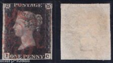 Great Britain 1840 Penny Black Used Red Maltese Cancel 3 Margins $350 Cat. Val.