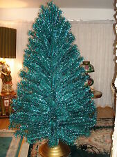 VTG 50's EMERALD GREEN BLUE  7 FT Stainless Aluminum Holiday Christmas Tree BOX
