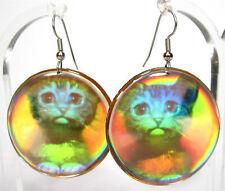 DZ New York Ohrhänger 1980er Jahre original Hologramm USA katze cat eighties