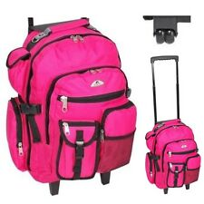 Rolling School Backpack Pink Wheeled College Laptop Roller Girls Book-Bag 18.5