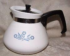 P-104 CORNING Cornflower Blue 6 Cup Teapot Kettle FINE w/ Original Black Lid
