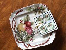 222 Fifth - Yuletide Celebration -  Fine Porcelaine Dessert Plates - (4) - New