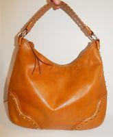 Michael Kors Acorn Tan Brown Leather Studded Large Hobo Shoulder Bag