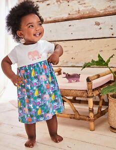 Ex Baby Boden Elephant Dress New Girls 12-18m 3-4 Mini Boden Jersey Indian Gdn