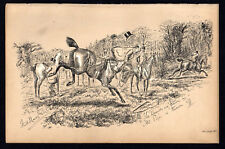 HOUNDS ARE THROWN IN - MR PIPER IS THROWN OFF 1883 Finch Mason Horses LITHOGRAPH