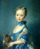 Art Giclee Canvas Print Little Girl & Cat Oil painting Printed on canvas P668