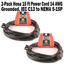 2-Pack Hosa 15 FT Power Cord IEC C13 to NEMA 5-15P for C14 inlet 14 AWG x 3 OFC